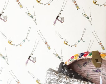 Trapeze Act Wallpaper // Flying High // Assorted lengths // Perfect for renters and owners