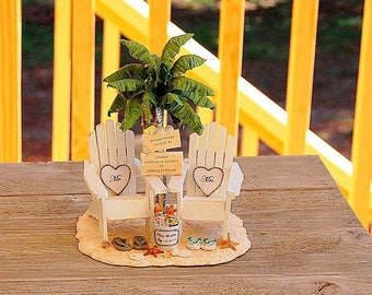 """CORONAS FOR TWO Beach Wedding Topper Base Attached Fits 6"""" Cake Top Rustic Sign/Beverage. Custom Made To Order Your Colors/Custom Wording!"""