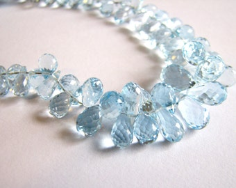 Natural Blue Topaz faceted teardrop briolettes, full strand 4.5 inches, 4-11.25mm (w11)