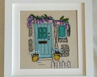 Handmade Wisteria Cottage Embroidered Picture. Ideal for New Home or retirement Gift. Freehand work from sketches, with French knot flowers
