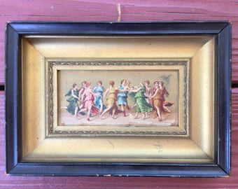 Framed dancing maidens on tin picture