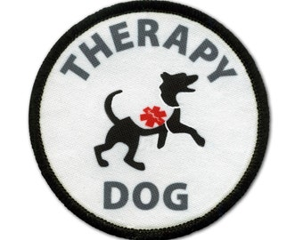 Therapy Dog Sew-on Patch (Choose Size and Rim Color)
