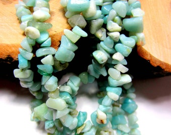 Amazonite beads aqua blue Peruvian Amazonite chip beads  natural stone jewelry supplies 32 inch strand 5mm-8mm HP031 (K5)
