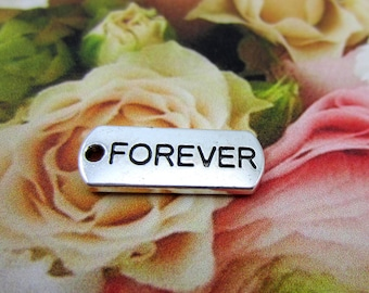 12 Forever charms antique silver message charms affirmation message pendants word charms silver tone word tags 8S(DD5),