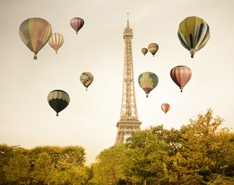 Paris Photography, Hot Air Balloons Print, Eiffel Tower Paris Decor, France Print Beige Neutral Colors par210