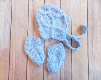 Newborn Baby Hat and Booties Set, Knit Baby Hat, Knit Baby Socks