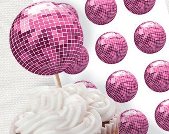 pink disco ball party circles - printable diy - cupcake topper, glitter ball, 70s dance party printable, gift tag, diy stickers, decoration
