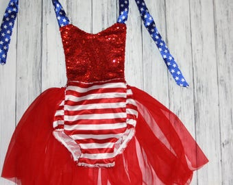4th of July Romper-Bubble Romper with Tulle Skirt -1st 4th of July Oufit- Baby Romper -Baby Bubble Romper- Ruffle Romper - Romper- Size 0-4T