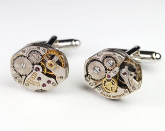 Steampunk Cufflinks Vintage Bulova Watch Movement Mens Gear Cuff Links by Steampunk Vintage Design