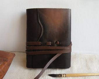 free personalization, brown leather journal - dark brown leather cover, vintage style paper
