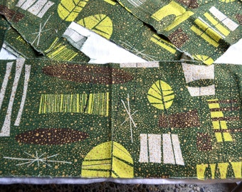 Vintage Barkcloth Fabric - Green and Gold Atomic Mid Century - Remnant Pieces