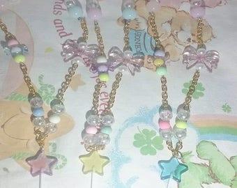 Kawaii Fairy Kei Candy Bow Star Lollipop Necklaces