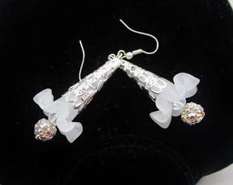 Vintage Bridal Trumpet Art Nouveau Swarovski Crystal Ball AB Filigree White Silver Pierced Dangles Easter Spring Summer Handmade Glamor