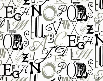 A pair ( two 50W x 96L panels) rod pocket drapes, alphabet grey, black and white,  curtains, drapes