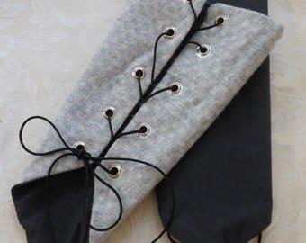 Long Gloves Textile Lace-Up Gauntlet Reversable Renaissance SCA Costume Larp Bracelet Size Large