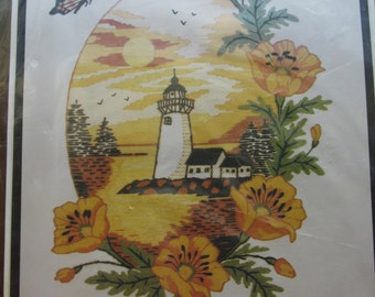 Safe Harbor/Vintage Crewel Embroidery Kit by Paragon Stitches/Design Stamped on Cotton Homespun/1981/In Original Unopened Package