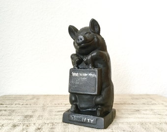 "Vintage Cast Iron Bank by Hubley, ""The Wise Pig"""