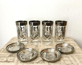 Vintage Kimiko Silver Rimmed Highball Glasses With Caddy and Coasters, Set of 4, Mid Century Barware Set
