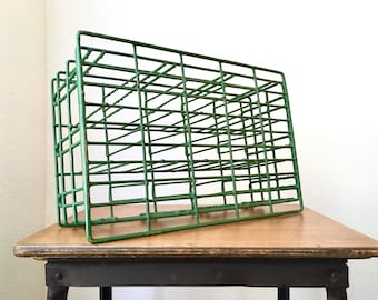 Vintage Industrial Farmhouse Wire Bottle Crate