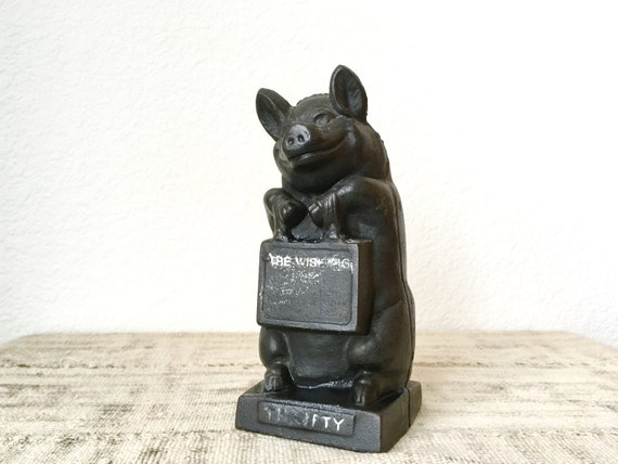 """Vintage Cast Iron Bank by Hubley, """"The Wise Pig"""""""