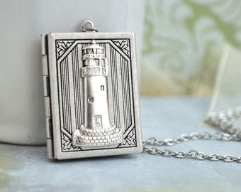 silver locket, lighthouse pendant, guidance locket, YOU are MY GUIDANCE vintage style lighthouse book locket, oceanside, seashore, book