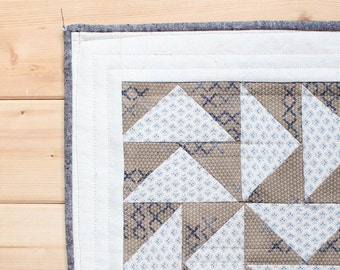 Rustic Modern Log Cabin style, mini quilt for a wall hanging, minimalist modern take on tradition Flying Geese block