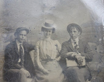 Victorian Tintype Group Portrait / Handsome Young People