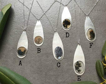 Dendritic Agate Teardrop Pendant - Sterling Silver Teardrop Leaf Pendant Necklace - Botanical Jewelry - Everyday Silver - Long Necklace
