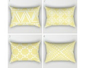 Lumbar Pillow - Modern Butter Yellow and White Geometric triangle circle dot - Rectangular Throw Pillow - Bed Pillow - Travel Pillow