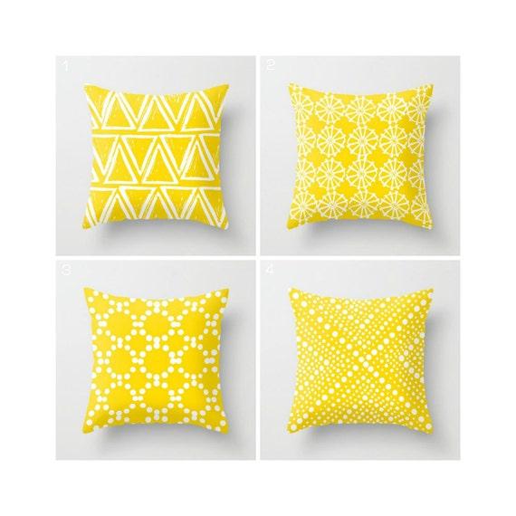 Yellow Throw Pillow . Modern Throw Pillow . Geometric Pillow . Yellow Cushion . Triangle White Ring Dot . Cotton Pillow 14 16 18 20 inch