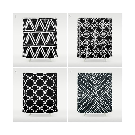 White and Black Shower Curtain - Geometric Shower Curtain - Modern Shower Curtain - Triangle Shower Curtain - Black and White