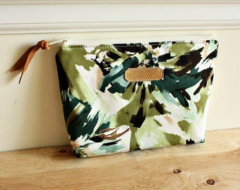 Green floral Pouch/clutch/ Zipper purse/ makeup bag /leather trim- Ready