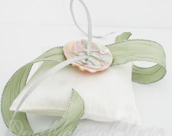 Destination Wedding Ring Bearer Pillow // White Silk Dupioni and Green Ribbon // Mother of Pearl Shell
