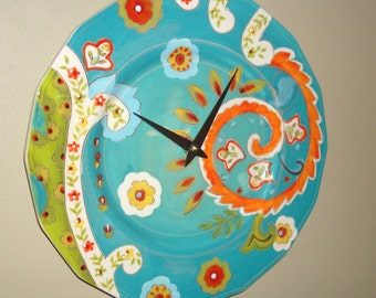 SILENT 11-1/4 Inch Bright, Bold and Colorful Paisley Inspired Wall Clock / Ceramic Plate Clock / Kitchen Clock / Unique Wall Decor / 2287