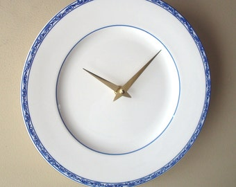 11 Inch Ralph Lauren Blue and White Porcelain Plate Wall Clock, Kitchen Clock, Classic Blue White Clock - 2332