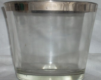Mid Century Modern Silver Band Glass Ice Bucket