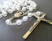 Rosary Beads * Clear Glass Prayer Beads * Italy