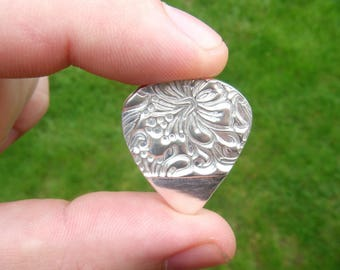Solid .999 pure silver guitar pick