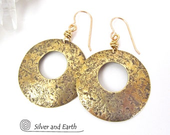 Hammered Brass Hoop Earrings, Handmade Modern Metal Jewelry, Gold Dangle Earrings, Gold Hoops, Classic Everyday Jewelry, Round Earrings