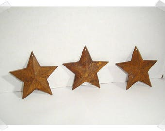 "Rusty Color Star Ornaments/2 & 1/4"" wide/ Set of 3/ Primitive/ Craft Supplies*"
