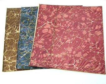 Antique Marbled End Papers For Crafts, Multicolor