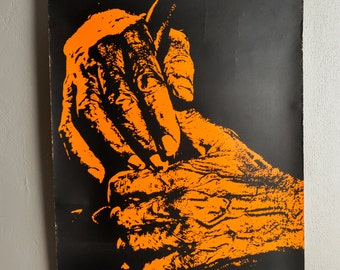 Vintage Screen Print Poster Orange Hands Black 1970