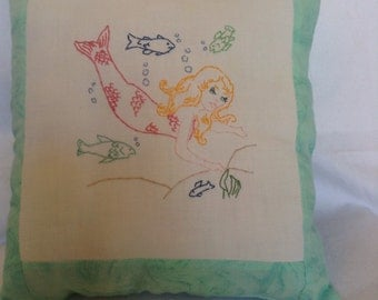 Mermaid Embroidered Decorative Pillow Handmade Nautical