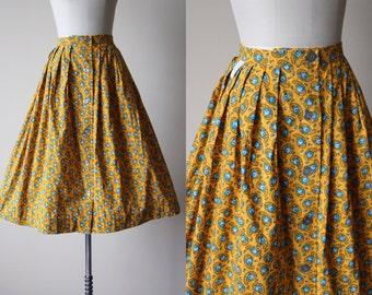50s Skirt - Vintage 1950s Skirt - Marigold Blue Rose Provencal Print Cotton Full Skirt S M - French Twist Skirt