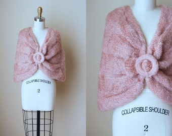 50s Mohair Stole - Vintage 1950s Blush Pink Capelet - Fuzzy Knit Cropped Cape Wrap Shawl - Softer Still Shrug