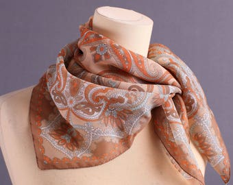 70s Boho Scarf Tangerine and Brown Paisley Sheer Scarf