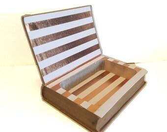 Hollow Book Safe Representative English Plays Cloth Bound vintage Secret Compartment Keepsake Box Hidden Security Box