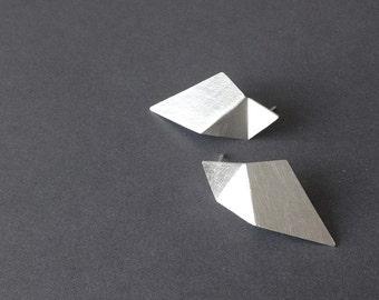 Geometric Silver Earrings, Triangle Sterling Silver Earrings, Minimalist Silver Earrings, Statement Earrings