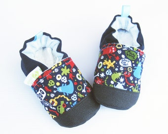 Classic Vegan Monsters in Navy / Non-slip Soft Sole Baby Shoes / Made to Order / Babies Toddlers Preschool