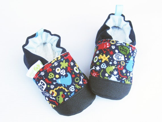 classic vegan monsters in navy non slip soft sole baby shoes